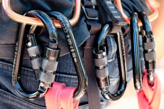 Climbing gear,Detail of Rock climbing equipment Climbing Gear Belayer Belaying Belt  Climbing Climbing Equipment Close-up Equipment Extreme Sports Rock Climbing ☺ Safety Sport Equipment