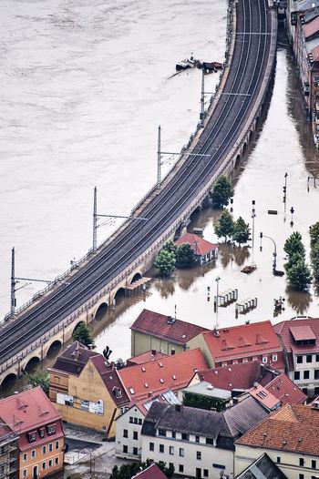 High angle view of bridge over river
