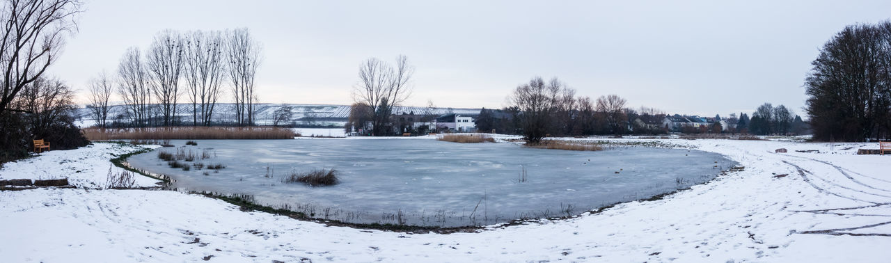 Cold Temperature Snow Winter Tree Sky No People Frozen Bare Tree Water Covering Outdoors White Color Ice Lake Frozen Lake Germany Winter Eis See Gefroren
