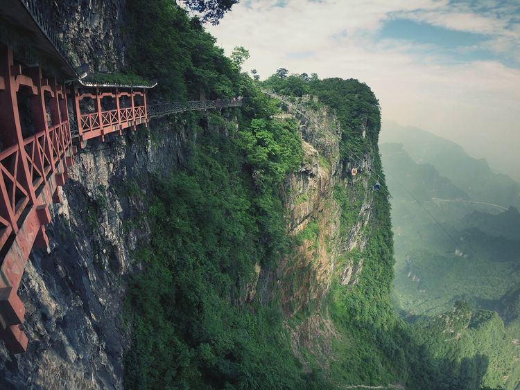 High Mountain in China Hill Mountain Nature Landscape High Tianmen Mountain Mountain Tree Water Sky Peak Mountain Range Rocky Mountains Mountain Road