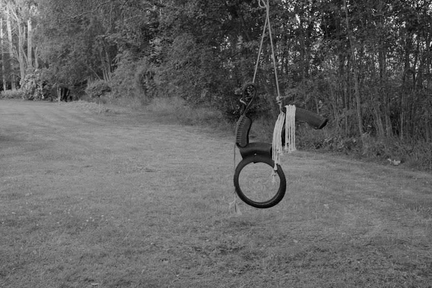 Black & White Blackandwhite Day Grass No People Outdoor Play Equipment Outdoors Photography Rope Swing Swing Xseries Xt1