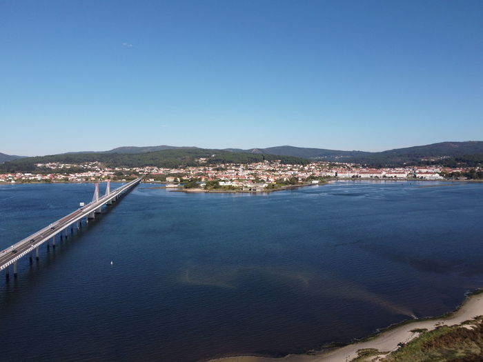 Scenic view of bay against clear blue sky