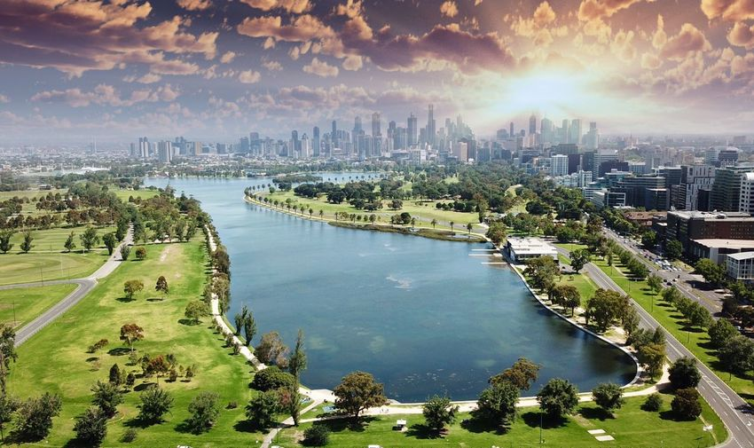 Albert Park lake at sunrise Taking Photos Exceptional Photographs Urban Skyline Aerial Water Lakeside Lake View Lake Albert Park Lake Melbourne Aerial View Day Australia Architecture Building Exterior Built Structure City Water Sky Nature Skyscraper Cityscape Office Building Exterior Building Travel Destinations River High Angle View Cloud - Sky Outdoors No People