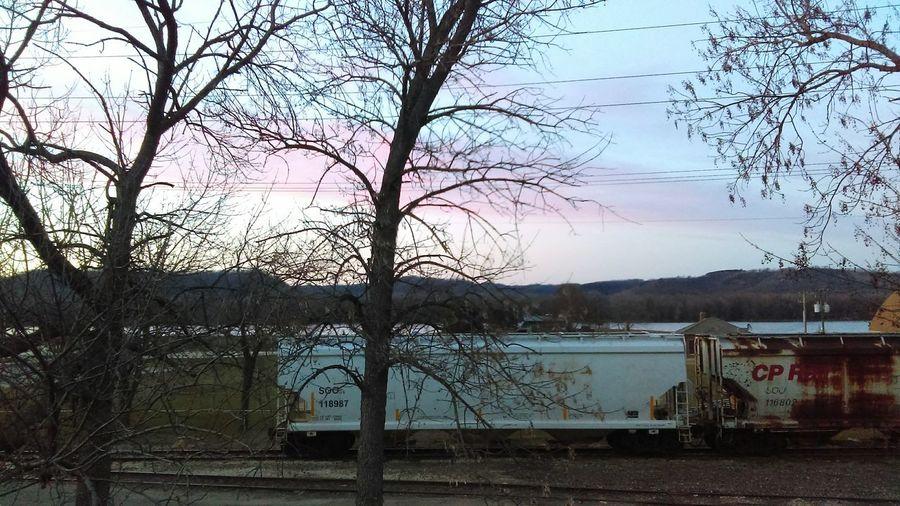 Winona Winona, MN. Train Sunset