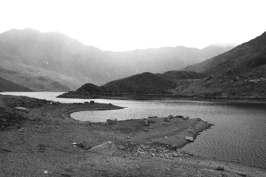 Snowdonia Part 5 Mountain Nature Outdoors Mountain Range Landscape Beauty In Nature Scenics No People Lake Day Water Sky Monochrome Grainy Photography Taking Photos Blackandwhite Textured  Shapes Curves