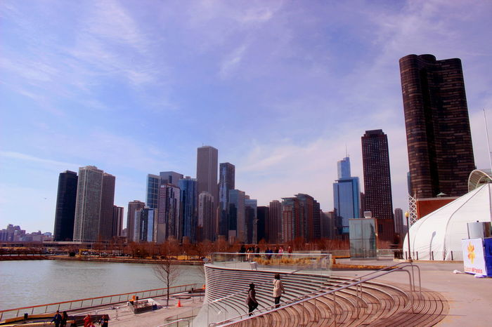 America Architecture Chicago City City Life Cityscape Illinois Lake Lake Michigan Navy Pier Outdoors Sky Skyline Skyscraper Stairs Steps Tower Trump Tower United States Colour Your Horizn