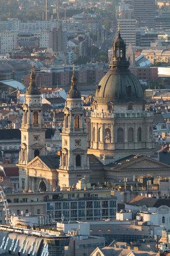 High angle view of buildings in city of budapest