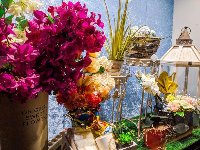 Close-up of flower vase hanging on plant for sale