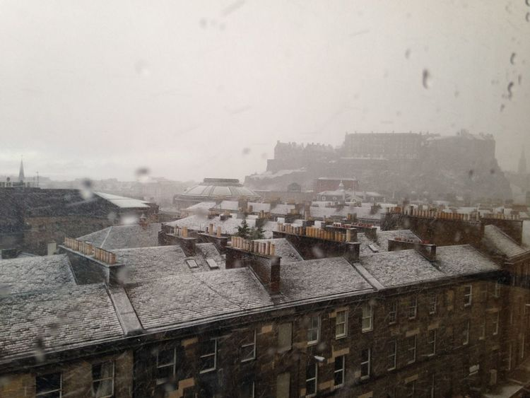 Snow Edinburgh Rooftops Scotland