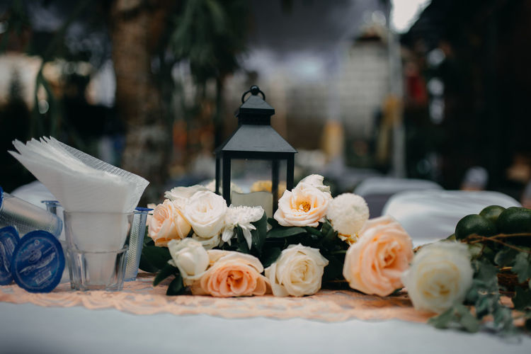 Close-up of white roses on table