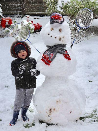 Snow Winter Cold Temperature Childhood Child Snowman Human Representation