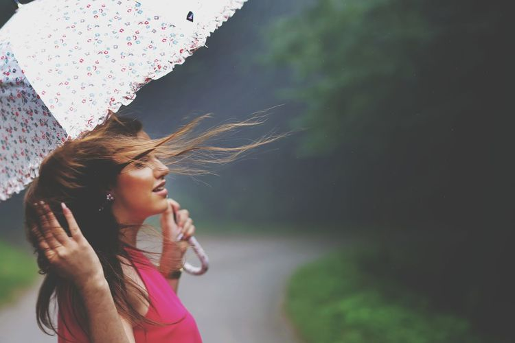 Umbrella Rainy Days Rain Foggy Morning Fog Foggy Day Foggy Weather The Fashion Photographer - 2018 EyeEm Awards Young Women Women Spraying Water Smiling Females Motion Beauty Summer Happiness RainDrop Foggy Weather Season  Rainfall Rainy Season Hair Toss