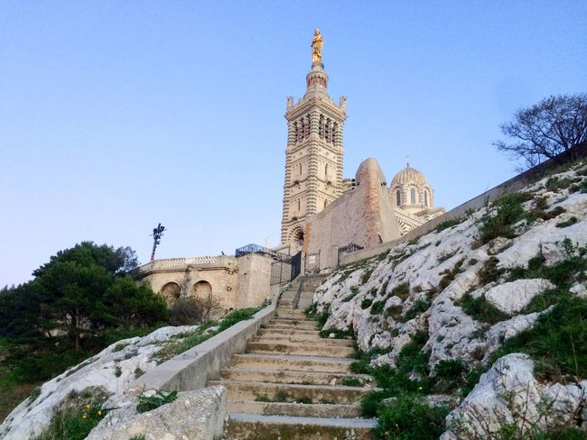 Built Structure Cathedral Clear Sky Day History Low Angle View Marseille Notre Dame De La Garde Outdoors Place Of Worship Religion Travel Destinations