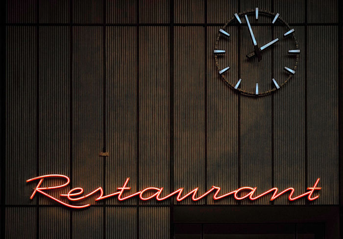 60s Food And Drink Typography Typography & Design Clock Design Illuminated Neon Lights Restaurant Tempelhof Airport Typo Around The World