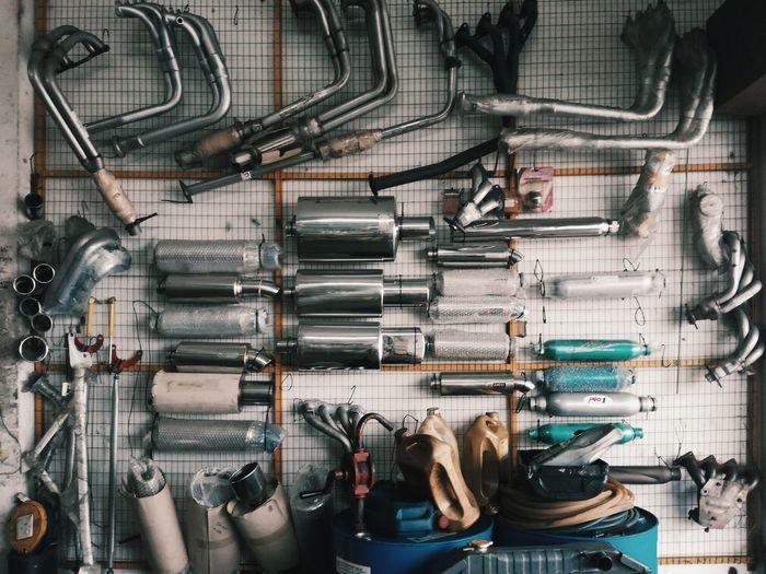 Various Vehicle Parts In Garage