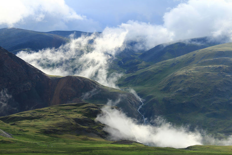 Early morning high in the mountains at the karagem pass in altai in summer