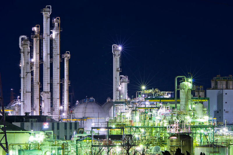 Building Exterior Night Illuminated Fuel And Power Generation Factory Architecture Built Structure Industry Smoke Stack Refinery Oil Industry No People Nature Sky Oil Refinery Industrial Building  Complexity Outdoors Petrochemical Plant Chemical Plant Pollution Japan Japan Photography Factory Night View Pentax