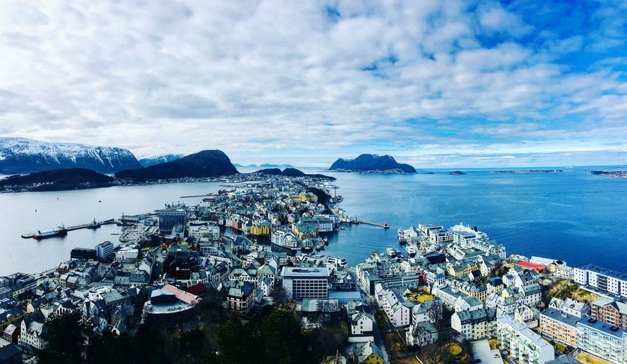 Ålesund Hiking Scandinavia Harbour Mountains And Sky Islands Fjordsofnorway Fjords Birds Eye View Aksla Ålesund, Norway EyeEm Selects Water Sky Sea Cloud - Sky Nature High Angle View Scenics - Nature Land Beauty In Nature No People Day Outdoors City Architecture