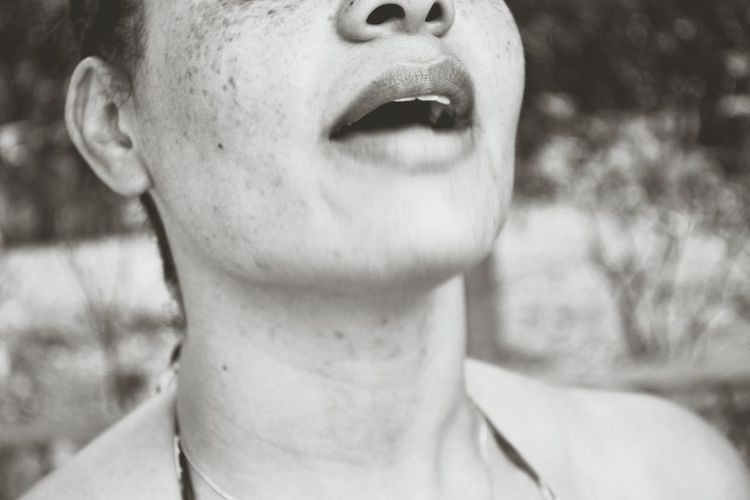 Freckles Human Body Part One Person Close-up Human Mouth One Woman Only Only Women Headshot Front View People Outdoors Adults Only Adult One Young Woman Only Human Face Day Human Lips Young Adult Human Nose Happiness Human Eye