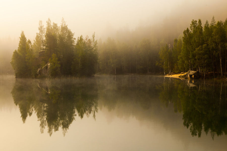 Adrspach, Czech Republic Adršpachské Skály Czech Republic Beauty In Nature Day Fog Forest Lake Nature No People Outdoors Reflection Scenics Sky Tranquil Scene Tranquility Tree Water