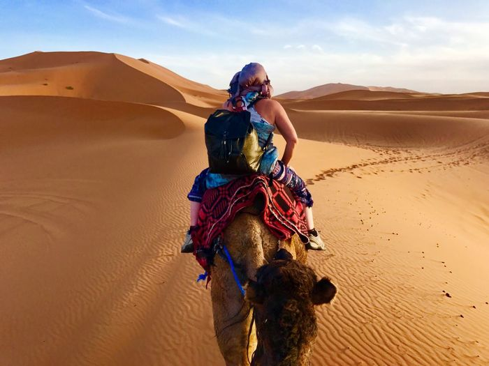 Wanderlust Sahara Morroco Dromadaire Sand One Person Desert Land Sand Dune Real People Nature Scenics - Nature