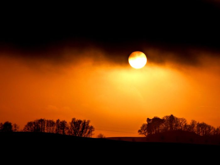Sky Silhouette Nature Orange Color Scenics - Nature Sunset Environment Cloud - Sky Yellow Land Beauty In Nature No People