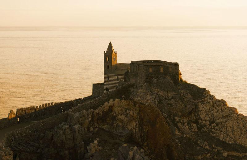 Scenic view of portovenere in the evening sun