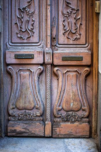 Close-up of old wooden door