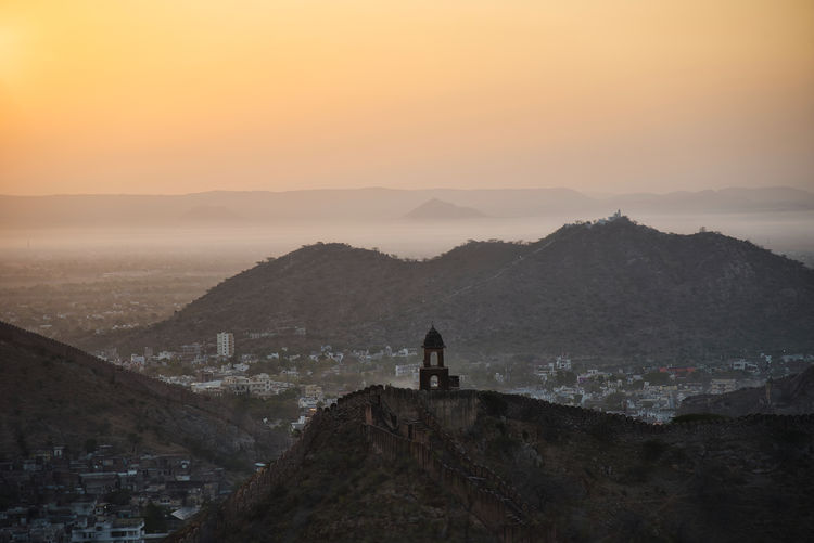 Scenic view of amer village from aravali mountain range