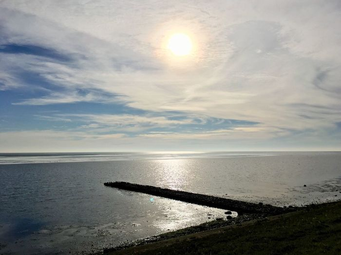 The Waddenzee in the north of the Netherlands. Area of World Hermitage. Northsea Horizon Over Water Sky