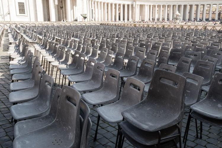 Empty Chairs Arranging At Auditorium