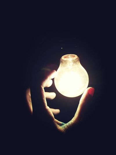 Human Hand Human Body Part Human Finger Holding One Person Personal Perspective Close-up Real People Night People Lifestyles Illuminated Black Background Indoors  Only Women Adult Adults Only Bulbphotography Bulb Bulbs Light Bulb Exposure Mobilephotography Mobile First Eyeem Photo