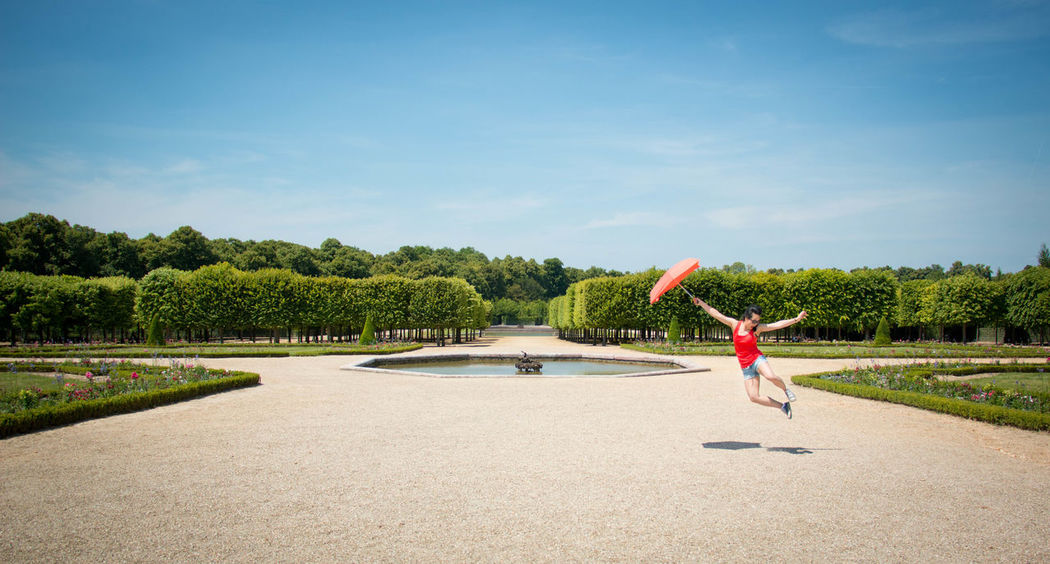 Blue Sky Day Europe Europe Trip Flying Away France Garden Jump Jumping One Person Paris Sky Summer Travel Travel Photography Versailles