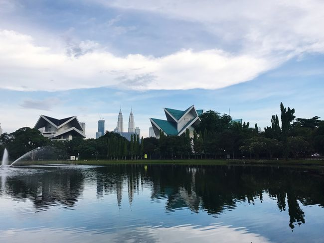 Sky Reflection Cloud - Sky Water Architecture Waterfront Built Structure Building Exterior No People Outdoors Tree Day Nature Beauty In Nature Lake Kuala Lumpur Malaysia Tasik Titiwangsa