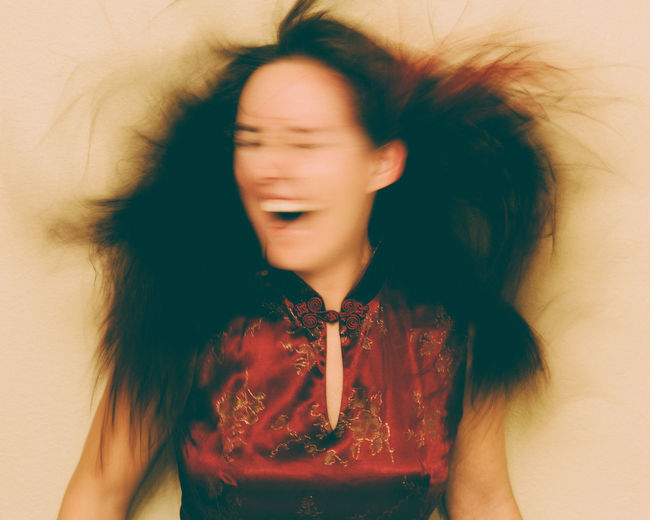 Black Hair Brown Hair Dancing Excitement Eyes Closed  Face Freedom Fun Hair Flying Happiness Headshot Human Face Joy Long Hair Motion Blur Mouth Open Movement Portrait Silly Wild