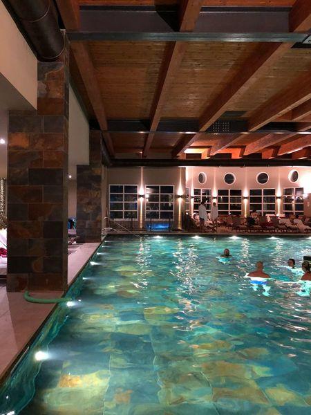 Swimming Pool Water Indoors  Luxury Illuminated Night Architecture