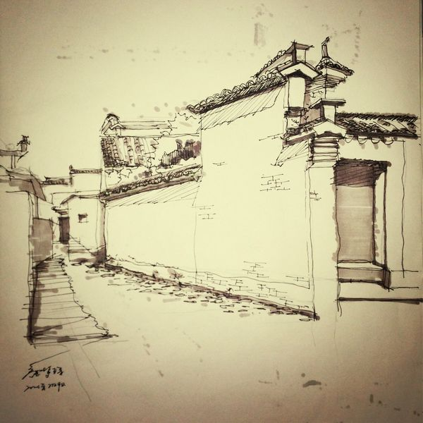 Drawing located in Hong village,Huangshan city,Anhui provence