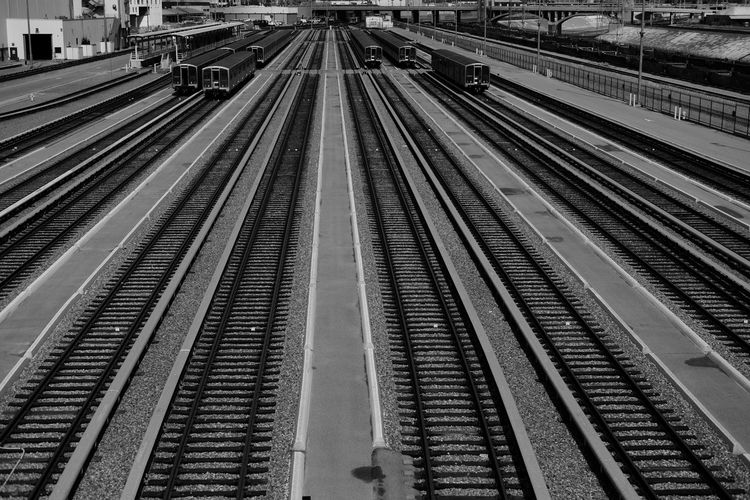 High angle view of railroad station platform