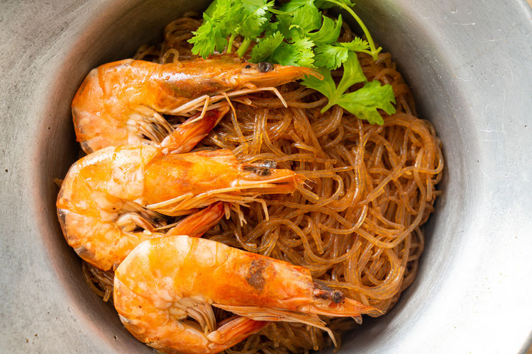 High angle view of prawns in bowl