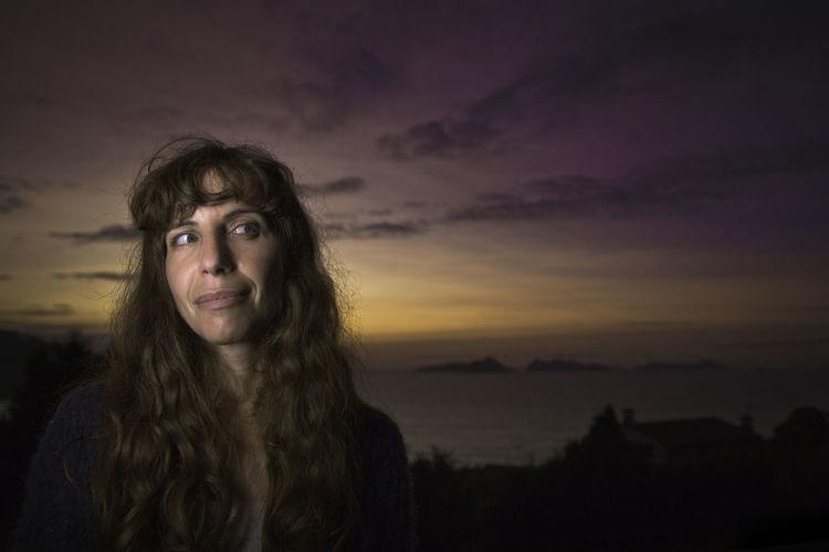 Dramatic Sky Woman Adult Beautiful Woman Long Hair Night Outdoors Portrait Seaside Sky Sunset
