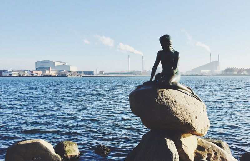 Water Sea Day Rock - Object Outdoors One Person Sky Built Structure Statue Sitting Sculpture Nautical Vessel Nature Architecture Real People Building Exterior People Denmark Little Mermaid