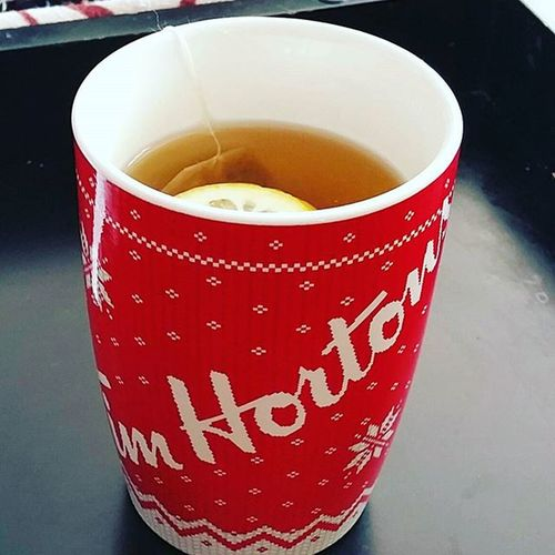 Nothing like a little bit of home for this home sick girl!! Timhortons Tea Canada Mommytime HelpingMeFeelBetter Ihatecolds Winter Nothinglikehome Missyouall Momslife❤ Teatime