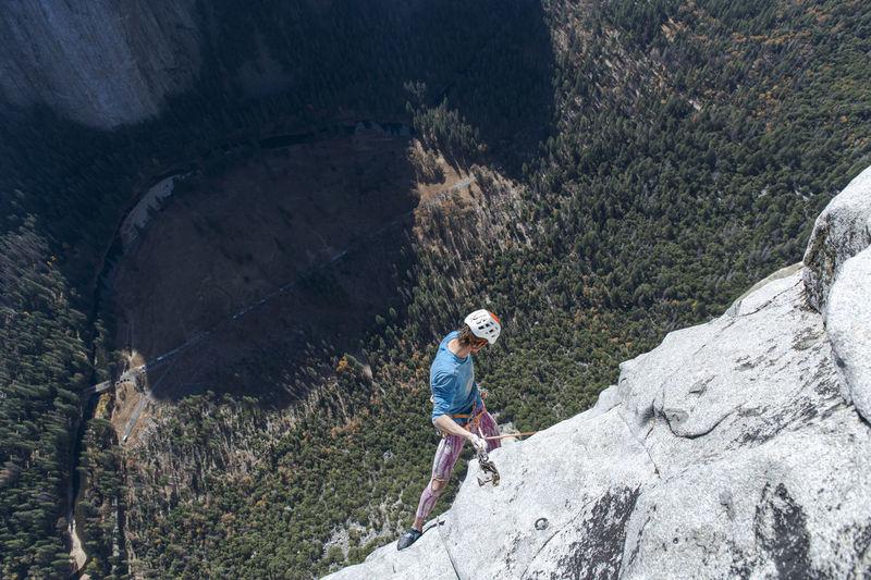 Full length of man on rock against mountain