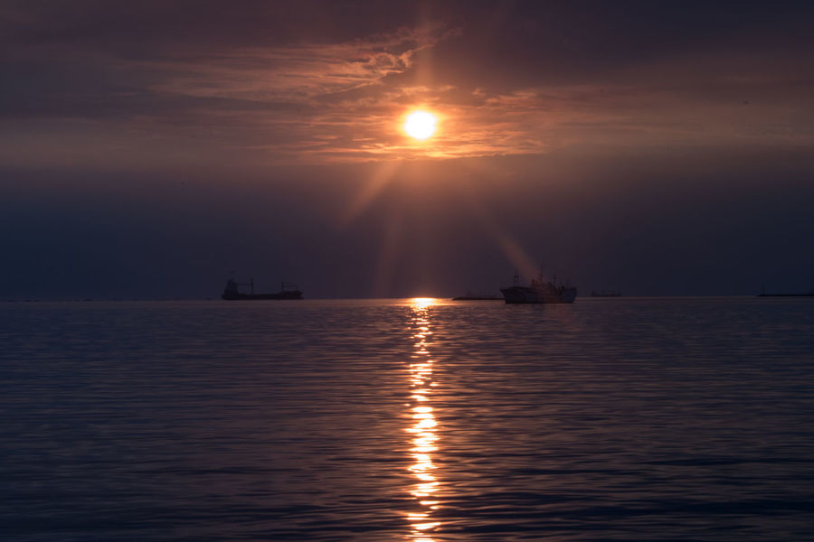Reflection Sea Outdoors Night Sky Scenics Nautical Vessel Tranquility Tranquil Scene Beauty In Nature No People Nature Water Sailing Ship Astronomy Philippines Manila Bay  Sunset Roxas Boulevard
