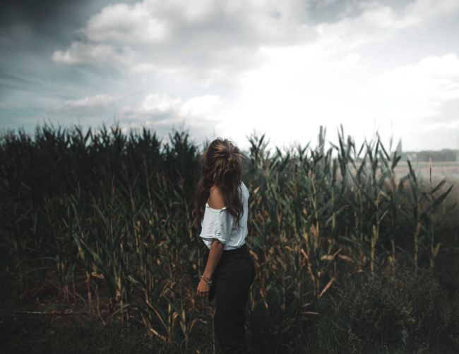 Sky Field One Person Growth Cloud - Sky Real People Three Quarter Length Lifestyles Outdoors Nature Young Women EyeEmNewHere Fresh On Market 2017