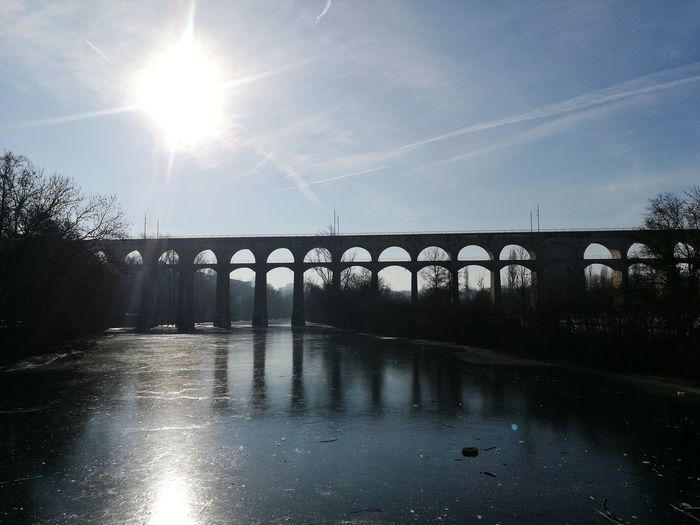 Bridge - Man Made Structure Water Reflection No People Sky Architecture Nature Beauty In Nature Sun Day Outdoors Riverside Beauty In Nature, Viadukt Bietigheim Frozen Nature Canon Eos 1100 D