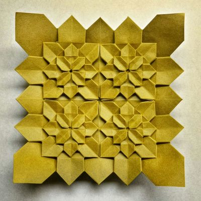 Four tiled hydrangea (Shuzo Fujimoto/Peter Budai) folded by me from one sheet of paper Origami Paperart Everyday Joy Check This Out Art Art Deco Flower Getting Inspired Design Hobby