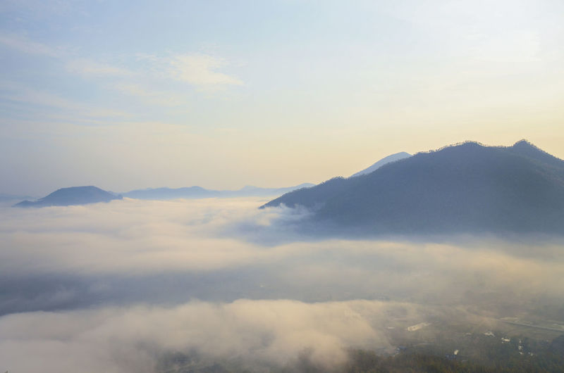 amazing landscape with sky mountain and sea of mist,use for background,chiang khan thailand. Copy Space Fly Sea Of ​​clouds Background Beauty In Nature Chiang Khan Cloud - Sky Day Environment Layout Majestic Mountain Nature No People Outdoors Scenics Sea Of Mist Sky Sunset Tranquil Scene Tranquility
