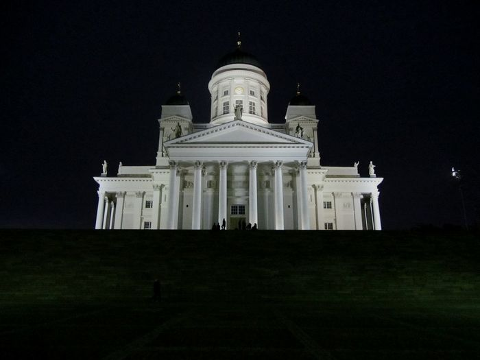 Architecture Built Structure Façade Building Exterior Night Travel Destinations Famous Place Dome Tourism Entrance Clear Sky History Illuminated Pediment Sky Dom Church Landmark Architectural Column Outdoors Monument Culture The Past Tuomiokirkko (helsinki Cathedral)