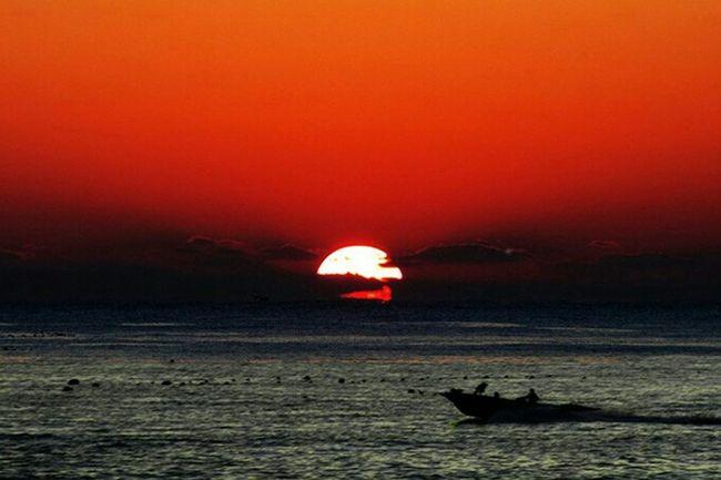 Sunrise Sea Fishing Boat Clouds Landscape Scenery💋